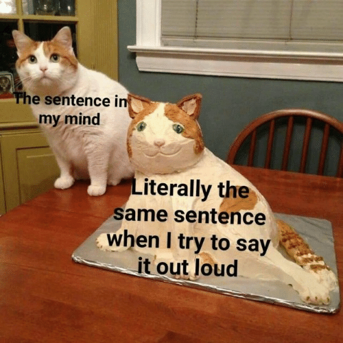 Say It, Mind, and Literally: The sentence i  my mind  Literally the  same sentence  when I try to say  it out loud