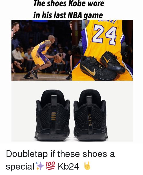 Nba Games: The shoes Kobe wore  in his last NBA game  24 Doubletap if these shoes a special✨💯 Kb24 🤘