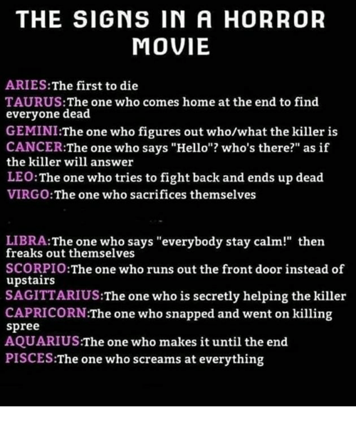 The SIGNS IN a HORROR MOVIE ARIESThe First to Die TAURUS the