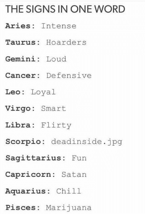 flirty: THE SIGNS IN ONE WORD  Aries Intense  Taurus: Hoarders  Gemini: Loud  Cancer: Defensive  Leo: Loyal  Virgo: Smart  Libra Flirty  Scorpio: deadinside.jpg  Sagittarius: Fun  Capricorn: Satan  Aquarius: Chill  Pisces: Marijuana