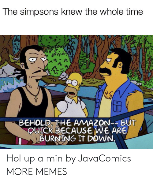 Hol Up: The simpsons knew the whole time  BEHOLD, THE AMAZON--BUT  QUICK BECAUSE WE ARE  BURNING IT DOWN. Hol up a min by JavaComics MORE MEMES