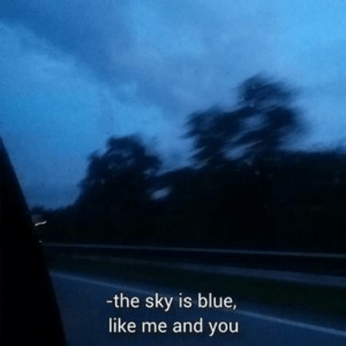 Blue, Sky, and You: -the sky is blue,  like me and you
