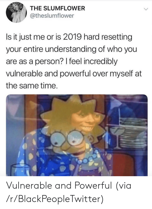 Is It Just Me Or: THE SLUMFLOWER  @theslumflower  Is it just me or is 2019 hard resetting  your entire understanding of who you  are as a person? I feel incredibly  vulnerable and powerful over myself at  the same time Vulnerable and Powerful (via /r/BlackPeopleTwitter)