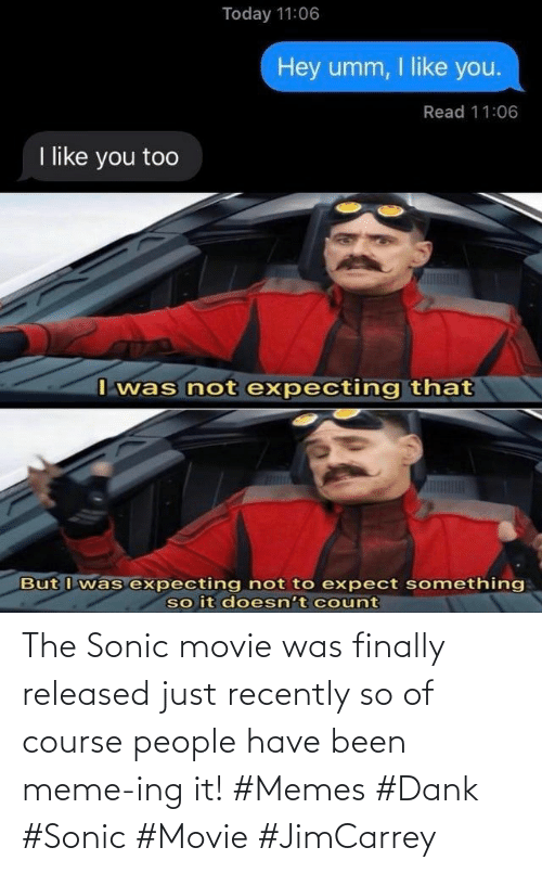 Sonic: The Sonic movie was finally released just recently so of course people have been meme-ing it! #Memes #Dank #Sonic #Movie #JimCarrey