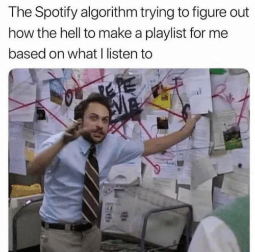 figure out: The Spotify algorithm trying to figure out  how the hell to make a playlist for me  based on what I listen to  SEN