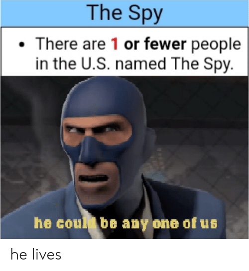 The U: The Spy  There are 1 or fewer people  in the U.S. named The Spy.  he coul be any one of us he lives