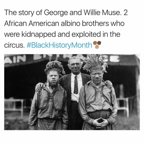 Memes, Muse, and Muses: The story of George and Willie Muse. 2  African American albino brothers who  were kidnapped and exploited in the  circus. #BlackHistoryMonth  IN