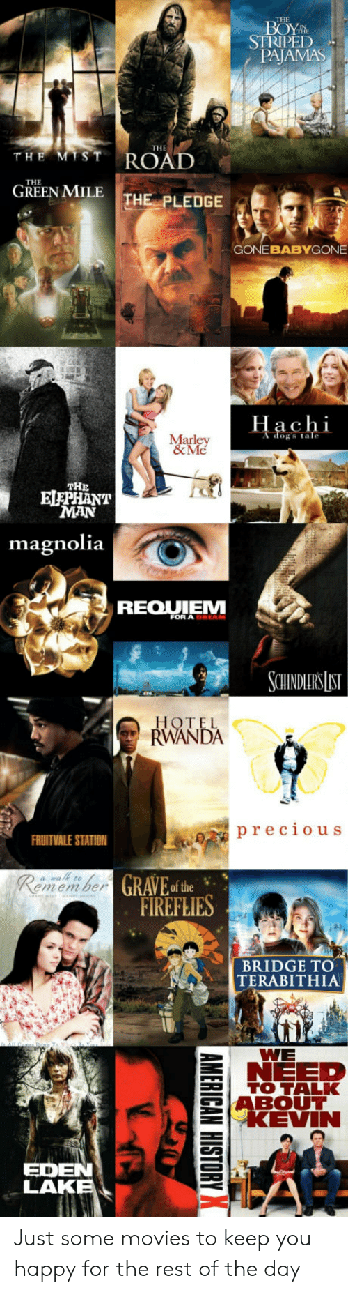 hachi: THE  STRIPED  PAJAMAS  THE  GREEN MILE THE PLEDGE  GONEBABYGONE  Hachi  A dogs tale  THE  ELEPHANT  MAN  magnolia  REOUIEM  FOR A  SCHINDERS LIST  HOTEL  RWANDA  precious  FRUITVALE STATION  GRAVEo the  emem ber  FIREFLIES  BRIDGE TO  TERABITHIA  WE  NEED  l TO TALK  5ABOUT  EKEVIN  EDEN  LAK Just some movies to keep you happy for the rest of the day