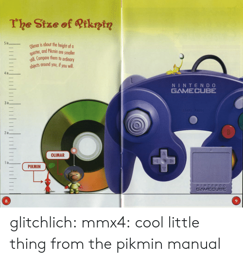 gamecube: The Stze of Qtkntn  in  Olimar is about the hei  uertet, and Pikmin are smaller  ill.Compare them to ordinary  iects around you,if you will  _  in  NINTEND O  GAMECUBE  STARAPAUSE  3in  2in  0  OLIMAR  1 in  ( PIKMIN  GAMECUBE  8 glitchlich:  mmx4: cool little thing from the pikmin manual