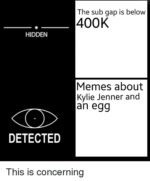 Kylie Jenner, Memes, and Hidden: The sub gap is below  400K  HIDDEN  Memes about  Kylie Jenner and  an egg  DETECTED