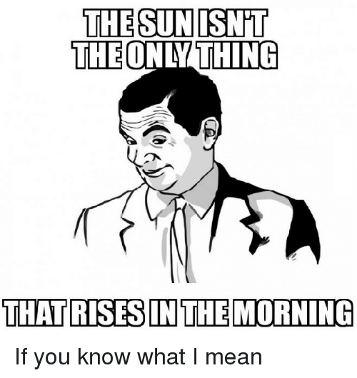 If You Know What I: THE SUNISN'T  THE ONLY THING  THATRISESIN THE MORNING If you know what I mean