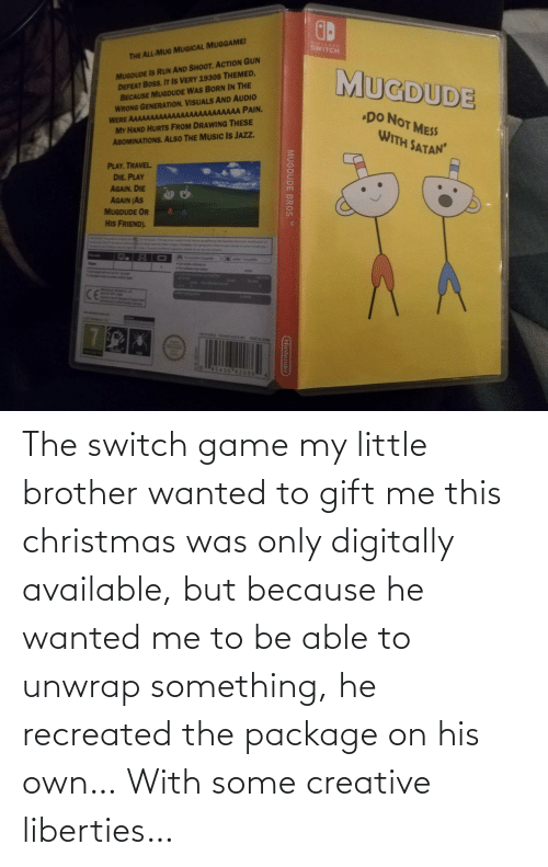 switch: The switch game my little brother wanted to gift me this christmas was only digitally available, but because he wanted me to be able to unwrap something, he recreated the package on his own… With some creative liberties…