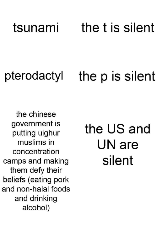 Non: the t is silent  tsunami  pterodactyl  the p is silent  the chinese  government is  putting uighur  muslims in  the US and  UN are  concentration  silent  camps and making  them defy their  beliefs (eating pork  and non-halal foods  and drinking  alcohol)