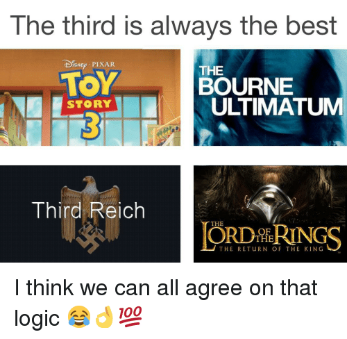 third reich: The third is always the best  DEp PIXAR  TOY  THE  BOURNE  ULTIMATUM  STORY  Third Reich  THE  ORDİhRINGS  OF  THE  THE RETuRN OF THE KING <p>I think we can all agree on that logic 😂👌💯</p>