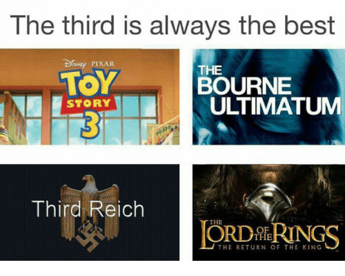 return of the king: The third is always the best  Dsuy PIXAR  TOY  STORY  THE  BOURNE  ULTIMATUM  Third Reic  THE  OF  THE  THE RETURN OF THE KING