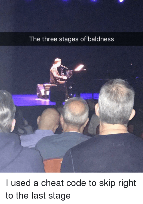 Funny, Code, and Three: The three stages of baldness I used a cheat code to skip right to the last stage