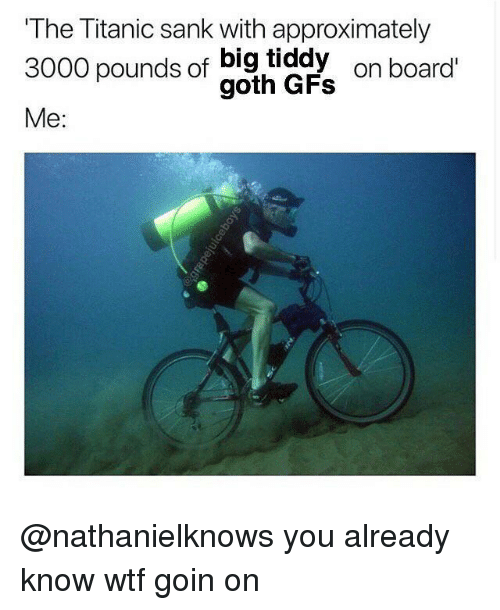 Titanic, Wtf, and Dank Memes: The Titanic sank with approximately  3000 pounds of big tiddy  3000 pounds of gad  on board  Me: @nathanielknows you already know wtf goin on