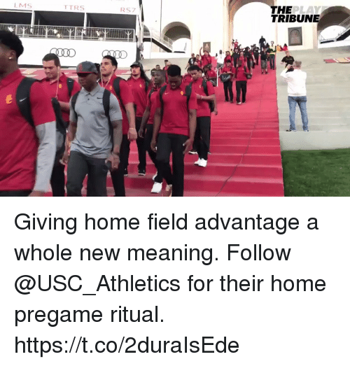 usc athletics: THE  TRIBUNE  LMS  TTRS  RS7 Giving home field advantage a whole new meaning.  Follow @USC_Athletics for their home pregame ritual. https://t.co/2duraIsEde