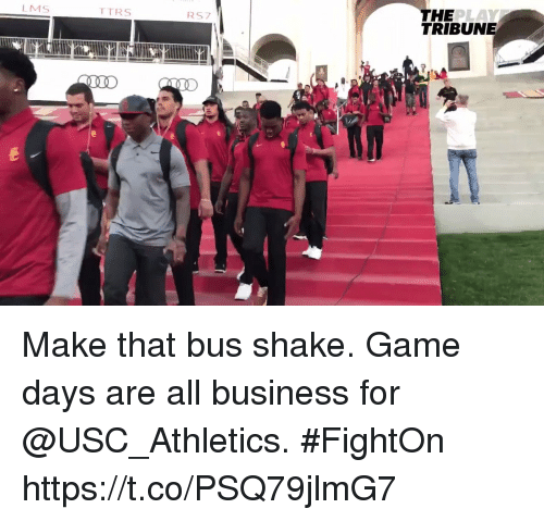 usc athletics: THE  TRIBUNE  LMS  TTRS  RS7 Make that bus shake.   Game days are all business for @USC_Athletics. #FightOn https://t.co/PSQ79jlmG7