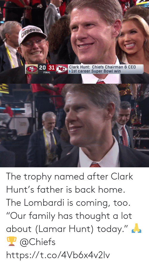 "Back Home: The trophy named after Clark Hunt's father is back home. The Lombardi is coming, too.  ""Our family has thought a lot about (Lamar Hunt) today."" 🙏🏆 @Chiefs https://t.co/4Vb6x4v2lv"