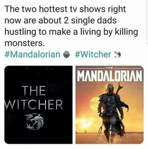 TV Shows, Living, and Single: The two hottest tv shows right  now are about 2 single dads  hustling to make a living by killing  monsters.  #Witcher 3  #Mandalorian  THE  MANDALORIAN  THE  WITCHER