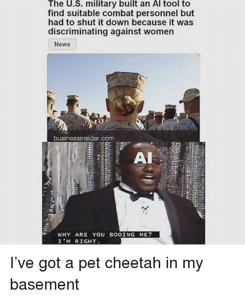 Memes, News, and Cheetah: The U.S. military built an Al tool to  find suitable combat personnel but  had to shut it down because it was  discriminating against women  News  businessinsider.com  WHY ARE YOU BOOING ME?  I'M RIGHT I've got a pet cheetah in my basement