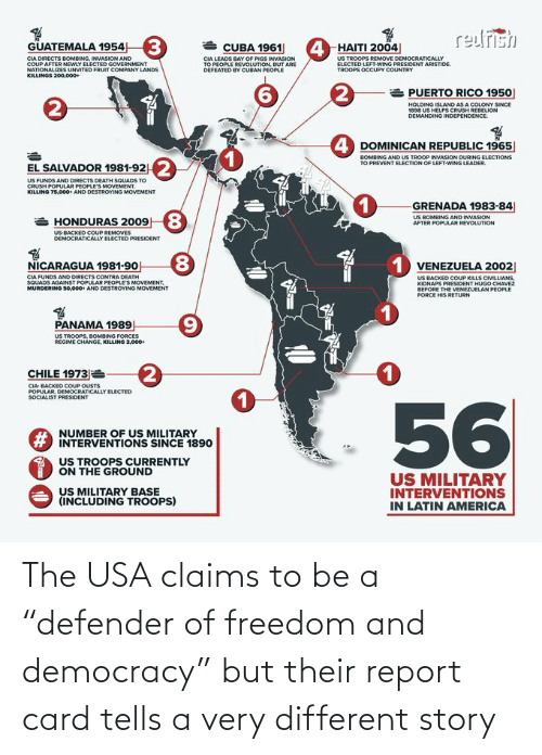 "card: The USA claims to be a ""defender of freedom and democracy"" but their report card tells a very different story"