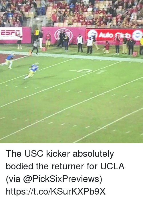 Usc, Ucla, and Via: The USC kicker absolutely bodied the returner for UCLA (via @PickSixPreviews) https://t.co/KSurKXPb9X