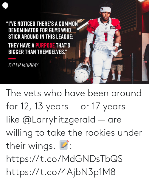 Wings: The vets who have been around for 12, 13 years — or 17 years like@LarryFitzgerald — are willing to take the rookies under their wings.  📝: https://t.co/MdGNDsTbQS https://t.co/4AjbN3p1M8