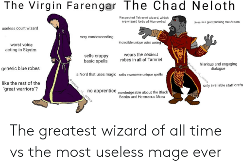 "Books, Fucking, and Skyrim: The Virgin Farengar The Chad Neloth  Respected Telvanni wizard, which  are wizard lords of Morrow ind  Lives in a giant fucking mushroom  useless court wizard  0  very condescending  incredible unique voice acting  worst voice  acting in Skyrim  wears the sexiest  robes in all of Tamriel  sells crappy  basic spells  hilarious and engaging  solaire of_astora  ET  dialogue  generic blue robes  a Nord that uses magic sells awesome unique spells  only available staff crafte  like the rest of the  no apprentice nowledgeable about the Black  Books and Hermaeus Mora  ""great warriors""?  @solaire ofastora The greatest wizard of all time vs the most useless mage ever"