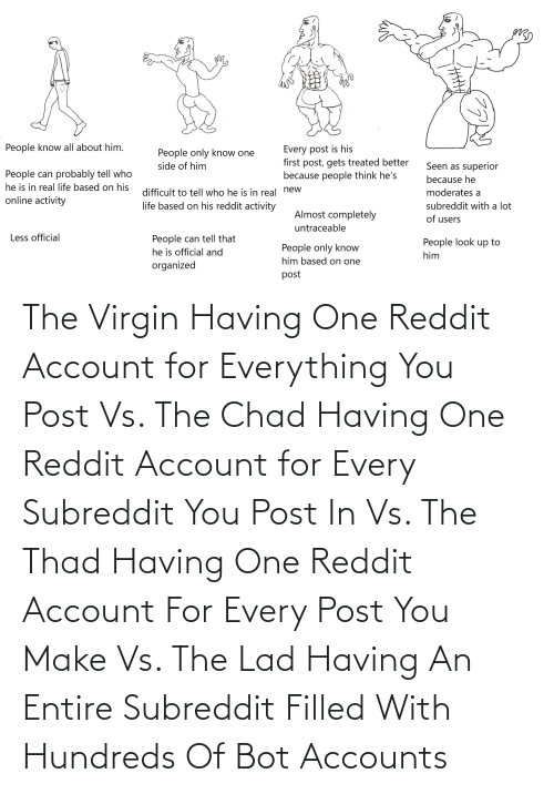 lad: The Virgin Having One Reddit Account for Everything You Post Vs. The Chad Having One Reddit Account for Every Subreddit You Post In Vs. The Thad Having One Reddit Account For Every Post You Make Vs. The Lad Having An Entire Subreddit Filled With Hundreds Of Bot Accounts
