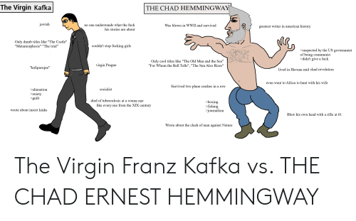 """Africa, Boxing, and Dumb: The Virgin  Kafka  THE CHAD HEMMINGWAY  jewish  no one understands what the fuck  his stories are about  Was blown in WWII and survived  greatest writer in american history  Only dumb titles like """"The Castle""""  """"Metamorphosis"""" """"The trial""""  couldn't stop fucking girls  >suspected by the US government  of being communist  >didn't give a fuck  Only cool titles like """"The Old Man and the Sea""""  """"For Whom the Bell Tolls"""", """"The Sun Also Rises""""  virgin Prague  """"kafquesque""""  lived in Havana mid chad revolution  Чw  even went to Africa to hunt with his wife  Survived two plane crashes in a row  socialist  >alienation  axiety  >guilt  died of tuberculosis at a young age  >boxing  >fishing  >journalism  like every one from the XIX century  wrote about insect kinks  Blew his own head with a rifle at 61  Wrote about the clash of man against Nature The Virgin Franz Kafka vs. THE CHAD ERNEST HEMMINGWAY"""