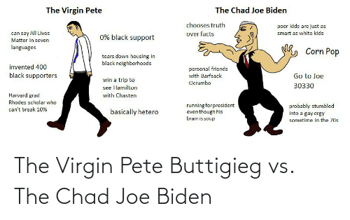 white kids: The Virgin Pete  The Chad Joe Biden  chooses truth  poor kids are just as  can say All Lives  smart as white kids  over facts  0% black support  Matter in seven  languages  Corn Pop  tears down housing in  black neighborhoods  invented 400  personal friends  with Barfsack  black supporters  Go to Joe  win a trip to  Ocrumbo  30330  see Hamilton  Harvard grad  with Chasten  Rhodes scholar who  running for president  even though his  brain is soup  probably stumbled  can't break 10%  basically hetero  into a gay orgy  sometime in the 70s The Virgin Pete Buttigieg vs. The Chad Joe Biden