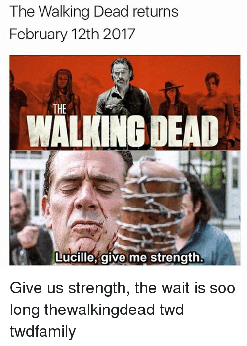 Walking Dead Returns: The Walking Dead returns  February 12th 2017  THE  DEAD  Lucille, give me strength Give us strength, the wait is soo long thewalkingdead twd twdfamily
