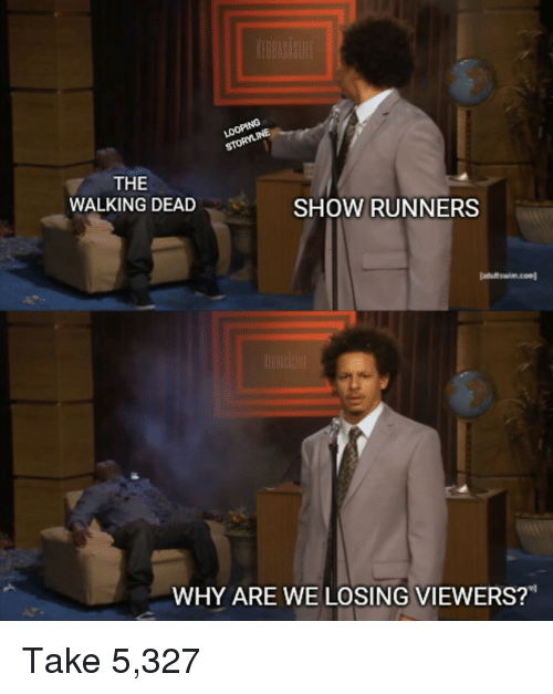 """The Walking Dead: THE  WALKING DEAD  SHOW RUNNERS  atultswim.com  WHY ARE WE LOSING VIEWERS?"""" Take 5,327"""
