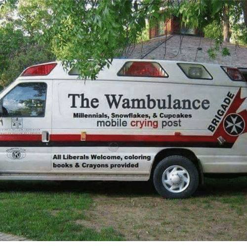 Cupcaking: The Wambulance  Millennials, Snowflakes, & Cupcakes  mobile crying post  All Liberals Welcome, coloring  books & Crayons provided