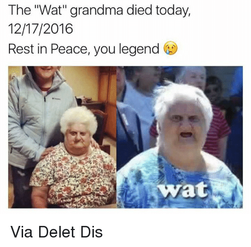 "Wat Grandma: The ""Wat"" grandma died today,  12/17/2016  Rest in Peace, you legend  wyrat Via Delet Dis"