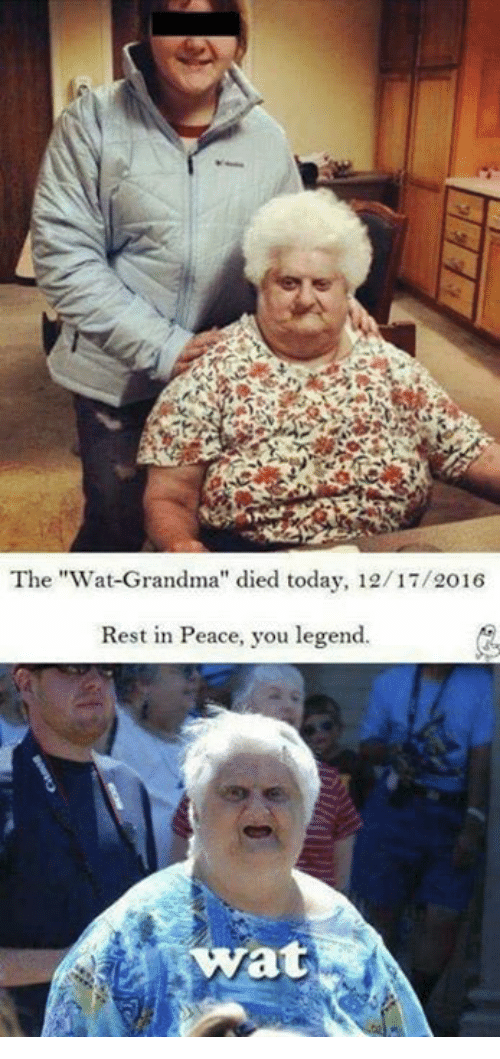 "Wat Grandma: The ""Wat Grandma"" died today, 12/17/2016  Rest in Peace, you legend.  Wat"