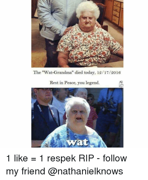 "Wat Grandma: The ""Wat Grandma'' died today, 12/17/2016  Rest in Peace, you legend  wat 1 like = 1 respek RIP - follow my friend @nathanielknows"