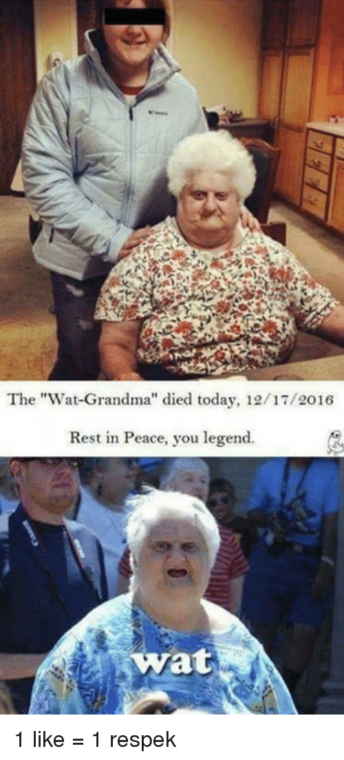 "Wat Grandma: The ""Wat-Grandma"" died today, 12/17/2016  Rest in Peace, you legend.  at 1 like = 1 respek"