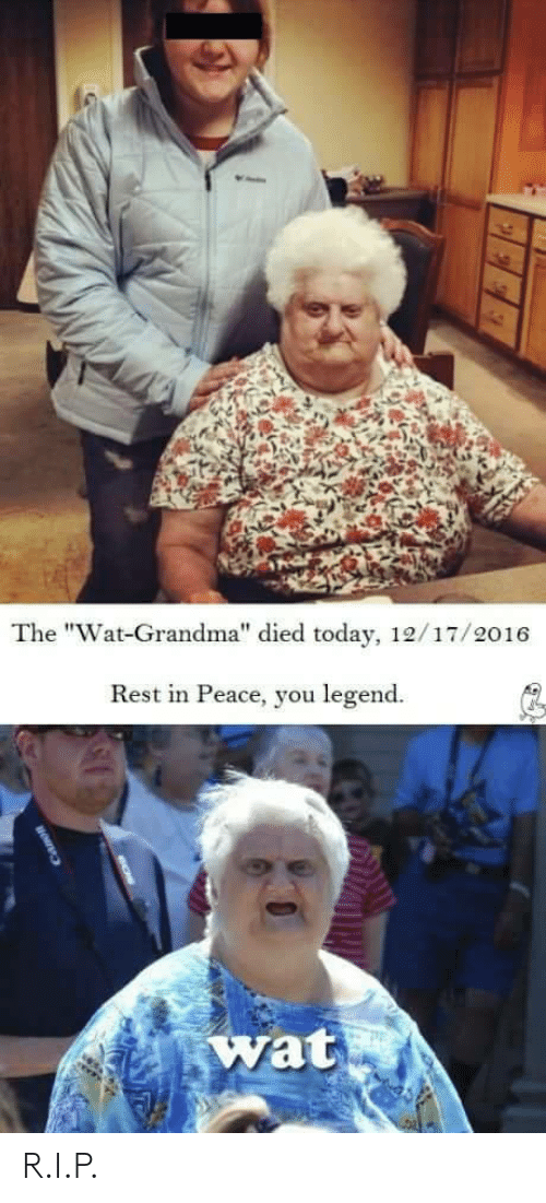 "Wat Grandma: The ""Wat-Grandma"" died today, 12/17/2016  Rest in Peace, you legend.  wat R.I.P."