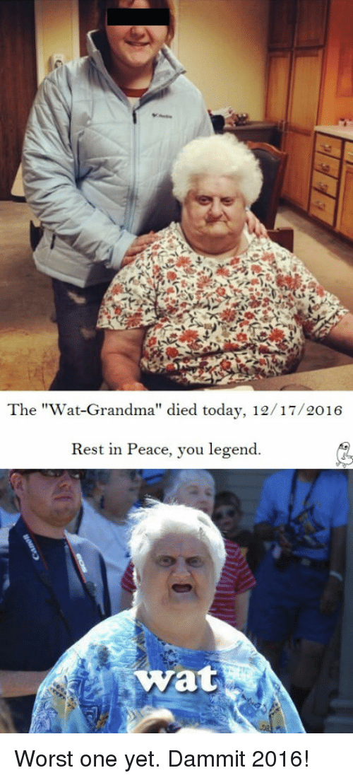 "Wat Grandma: The ""Wat-Grandma"" died today, 12/17/2016  Rest in Peace, you legend.  Wat Worst one yet. Dammit 2016!"