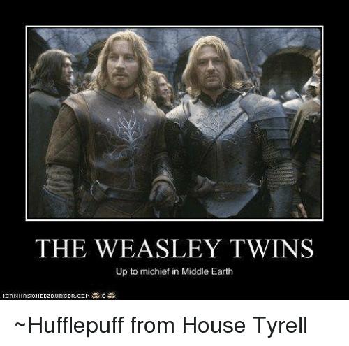 middle earth: THE WEASLEY TWINS  Up to michief in Middle Earth ~Hufflepuff from House Tyrell