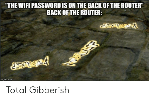 "Router: THE WIFI PASSWORD IS ON THE BACK OF THE ROUTER""  BACK OF THE ROUTER:  imgflip.com Total Gibberish"