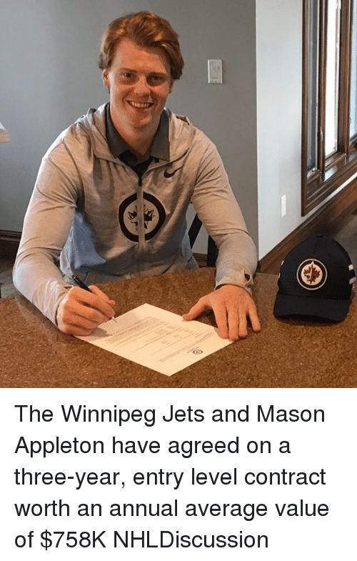 annuale: The Winnipeg Jets and Mason Appleton have agreed on a three-year, entry level contract worth an annual average value of $758K NHLDiscussion