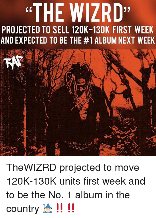 """Memes, 🤖, and Next: """"THE WIZRD  (0  PROJECTED TO SELL 120K-130K FIRST WEEK  AND EXPECTED TO BE THE #1 ALBUM NEXT WEEK TheWIZRD projected to move 120K-130K units first week and to be the No. 1 album in the country 🧙♂️‼️‼️"""