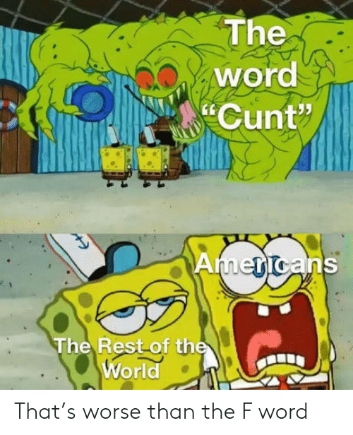 """Worse Than: The  word  Cunt""""  Americans  The Rest of the  World That's worse than the F word"""