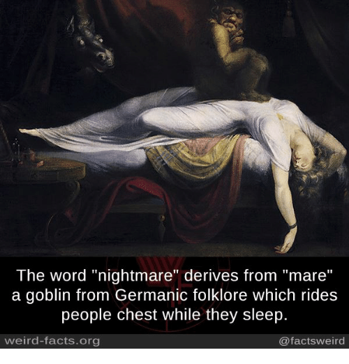 """Germanic: The word """"nightmare"""" derives from """"mare""""  a goblin from Germanic folklore which rides  people chest while they sleep.  weird-facts.org  @factsweird"""