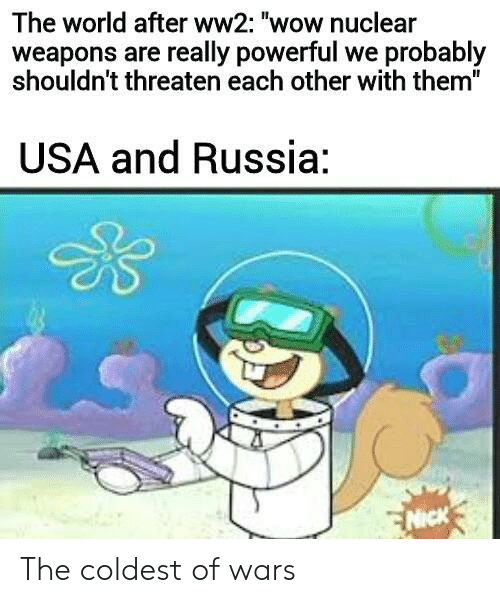 "ww2: The world after ww2: ""wow nuclear  weapons are really powerful we probably  shouldn't threaten each other with them""  USA and Russia:  NICK The coldest of wars"