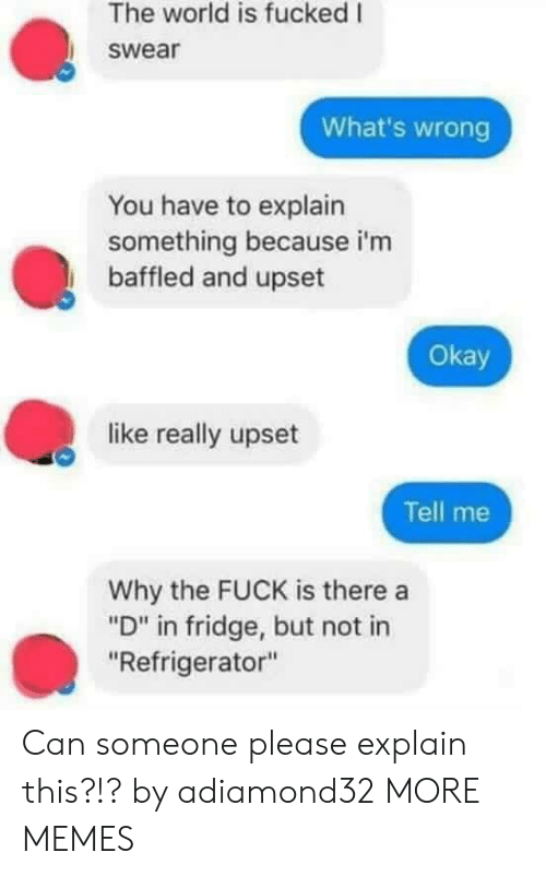 "Dank, Memes, and Target: The world is fucked I  swear  What's wrong  You have to explain  something because i'm  baffled and upset  Okay  like really upset  Tell me  Why the FUCK is there a  ""D"" in fridge, but not in  ""Refrigerator"" Can someone please explain this?!? by adiamond32 MORE MEMES"